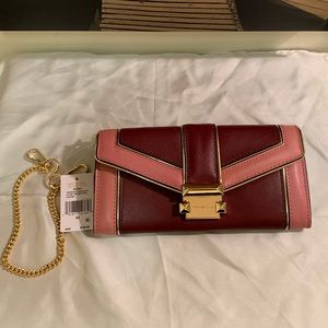 "Michael Kors ""Whitney"" Large Chain Wallet Oxblood"